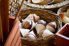 Handgjorda Wood leksaker Fotografering för Bildbyråer