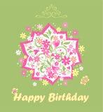 Handgjort barnsligt hälsa kort med födelsedagbuketten med tusenskönan och rosa hjärtor stock illustrationer
