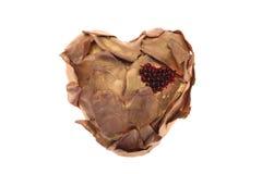 Handgjort brons pläterad hjärta Arkivfoto
