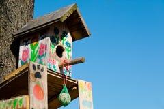 Handgjort dekorerat fågelbås - ställe som matar fåglar under winte royaltyfria foton