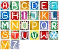 Handgjort keramiskt alfabet Arkivbilder