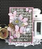 Handgjort kort med fjärilar Royaltyfri Fotografi