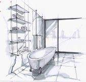 Handgjort skissa av ett lyxigt modernt badrum, ett stort bad i gammal stil, en hylla för skönhetsmedel och handdukar stort golv-t vektor illustrationer
