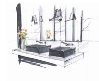 Handgjort skissa av ett lyxigt modernt badrum, två vaskar med vattenkranar, och spegeln, vägg monterade lampor och blommor royaltyfri illustrationer