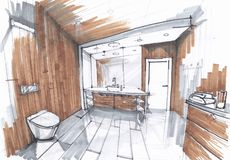 Handgjort skissa av ett lyxigt modernt badrum, vask med spegeln, watercloset i belagt med tegel badrum i gråa och bruna färger royaltyfri illustrationer