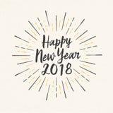 Handgjort stilhälsningkort - lyckligt nytt år 2018 stock illustrationer