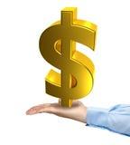 Handgroßes goldenes Dollarsymbol Stockfoto