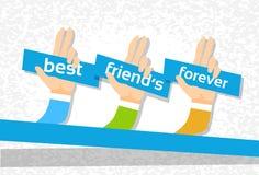 Handgruppen-beste Freund-für immer Freundschafts-Tagesfahne stock abbildung