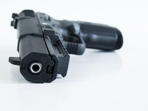 Handgun. FN Five-seveN is lightweight polymer-based weapon with a large magazine capacity, ambidextrous controls, low recoil, and the ability to penetrate soft Stock Photo