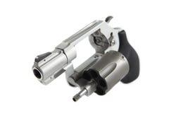 Handgun. Small handgun, gray color, isolated Stock Photo