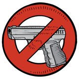 Handgun ban sketch. Doodle style handgun ban or gun control illustration in vector format. Includes automatic pistol surrounded by circle with a line through it vector illustration