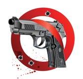 Handgun Beretta Elite Bloody Stop. Vector illustration of Beretta Elite II handgun on white bloody background getting through stop sign Royalty Free Stock Photo
