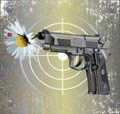 Handgun Beretta Elite with camomile. Vector illustration of Beretta Elite II handgun on vintage metal plate background with camomile flower and ladybug Royalty Free Stock Image