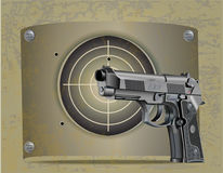 Handgun Beretta Elite with target. Vector illustration of Beretta Elite II handgun with the steel plate target and shots Royalty Free Stock Photography