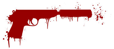 Handgun with blood Royalty Free Stock Images