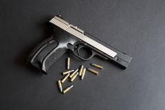 Handgun and bullets Royalty Free Stock Photography