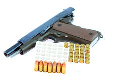 Handgun and bullets Stock Photo