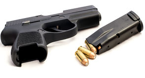 Handgun Bullets Crime Rights Gun. Gun rights, crime handgun black Stock Images