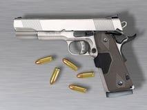 Handgun and bullets Royalty Free Stock Photo