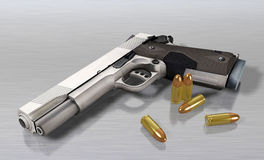 Handgun and bullets Royalty Free Stock Images