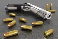 Handgun and bullets Royalty Free Stock Image