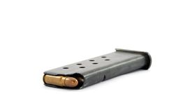Handgun clip. And bullets, studio isolated, criminality theme Royalty Free Stock Photography