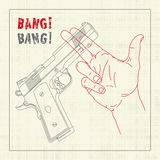 Handgun Crossing Hand. With Shooting Gesticulation royalty free illustration