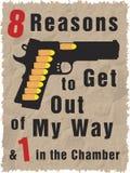 Handgun full of bullets. T-Shirt design and slogan stock illustration
