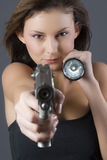 Handgun girl Stock Image