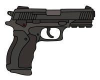 Handgun. Hand drawing of a recent black automatic handgun royalty free illustration