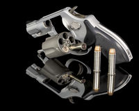 Handgun with hollow point bullets Stock Image