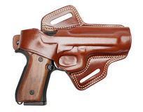 Handgun in a holster Royalty Free Stock Image