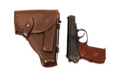 Handgun and holster Royalty Free Stock Images