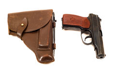 Handgun and holster. Russian 9mm handgun and holster Royalty Free Stock Images