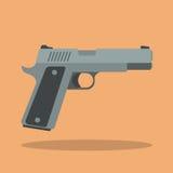 Handgun. Icon. Flat style design stock illustration