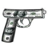 Handgun  made from dollars Stock Photo