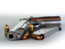Handgun model of 1911 in .45 acp cal. Stock Images