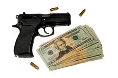 Handgun with Money stock photos