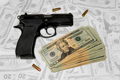 Handgun & Money stock images