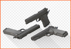 Handgun pistols flat vector isometric Royalty Free Stock Images