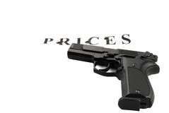 Handgun raked inscription of Stock Photography