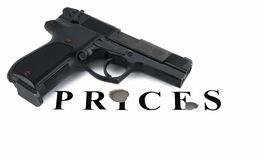 Handgun raked inscription of Stock Photo
