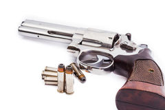 Handgun revolver with bullets Royalty Free Stock Photo