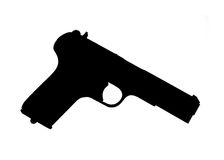 Handgun Silhouette. Handgun. High contrast automatic pistol silhouette, isolated black on white Stock Photos