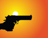 Handgun Silhouette. The silhouette of a hand pointing a pistol Royalty Free Stock Image