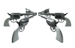 Handgun Standoff. 6 handguns all pointing towards each other in a standoff isolated on a white background Stock Photography