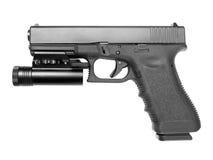 Handgun with tactical flashlight Stock Photography