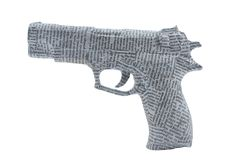 Handgun tightyl wrapped in newspaper Royalty Free Stock Photo