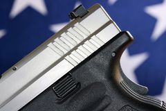 Handgun with United States flag - The Right to Bear Arms Royalty Free Stock Photo