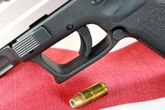 Handgun with United States flag - The Right to Bear Arms Stock Photo